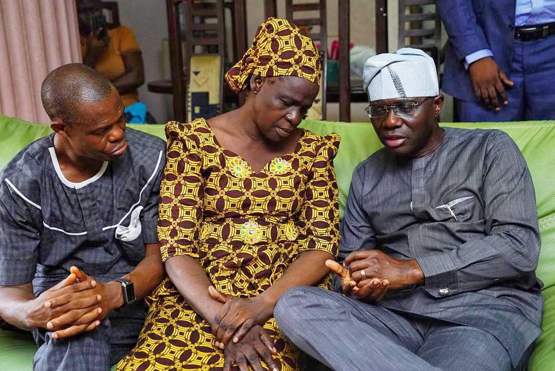 Image result for Sanwo-Olu Pays Condolence Visit To Parents Of Slain Kolade Johnson